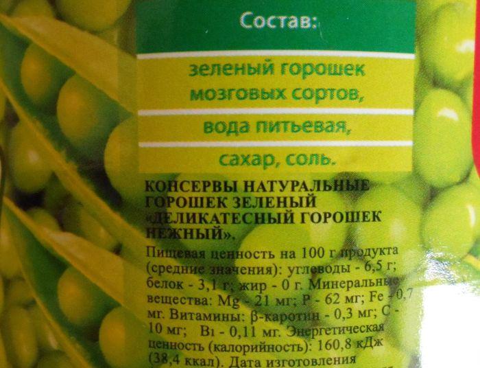 сколько калорий в зеленом горошке консервированном